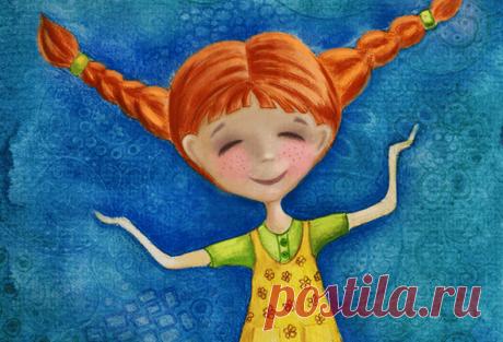 Сказка «Пеппи Длинный чулок» о девочке с рыжими косичками. на иллюстрации изображена главная героиня Пеппи Длинный чулок.