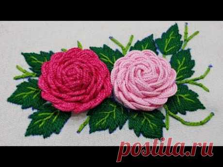 Hand Embroidery:Beautiful Ribbon RicRac Flower Embroidery,Make Amazing Flower Hand Stitch