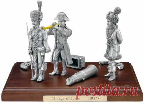 Статуэтка Наполеон в битве под Эйлау Купить оловянную статуэтку Наполеон французские гусары в битве под Эйлау | Интернет-магазин подарков Ларец