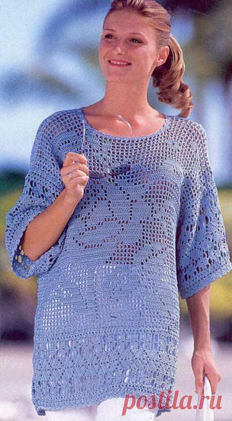 Филейный пуловер с цветочным мотивом. Филейая туника крючком |