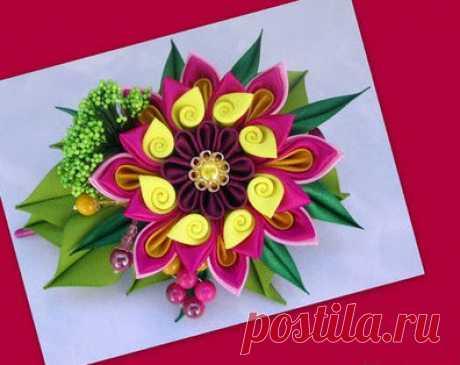 Декорирование заколки для волос цветком казанши...