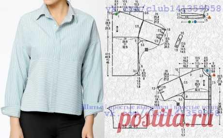 Блузка рубашечного кроя со спущенной линией плеча. Выкройка на размеры 40/42, 44, 46/48, 50 (рос.). #простыевыкройки #простыевещи #шитье #блузка #блуза #выкройка