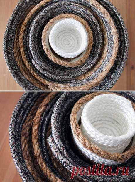Чашки - матрешки из веревки