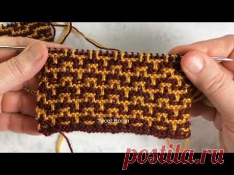 Абстрактный узор из мелких ломаных линий / Мозаика / Вязание спицами.