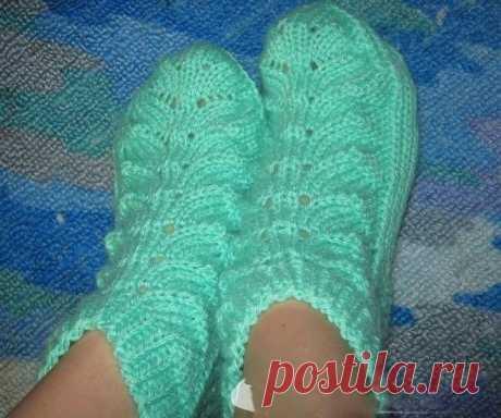 Красивые носочки с листочками (Вязание спицами) | Журнал Вдохновение Рукодельницы