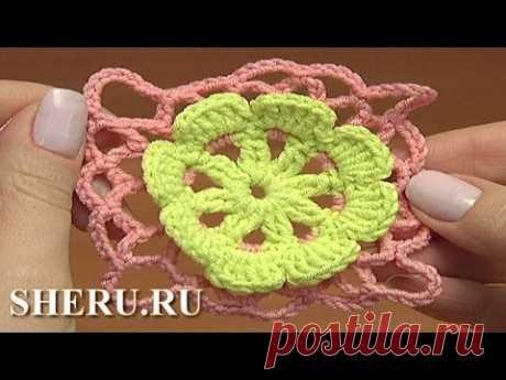 Crochet Floral Motif  Tutorial  38 часть 1 из 2 Цветочный мотив крючком