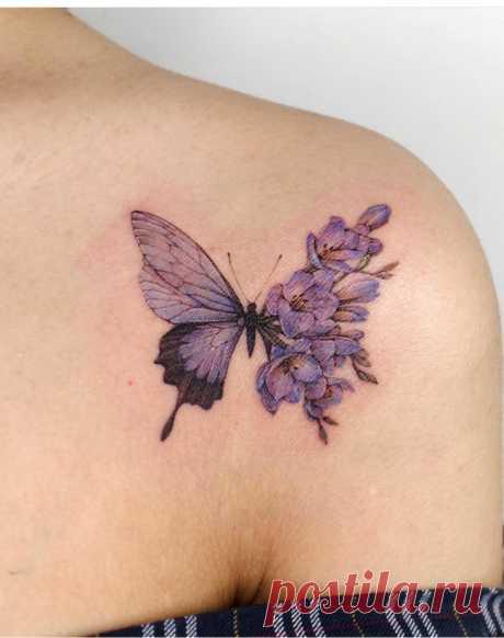 Татуировки цветочные бабочки (подборка) Модная одежда и дизайн интерьера своими руками