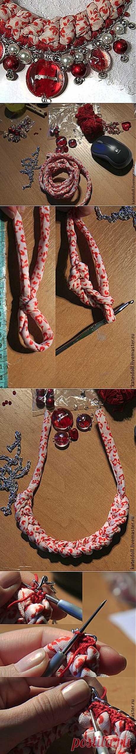 Делаем оригинальное вязаное колье -