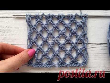 Крупная сетка спицами. Мой вариант вязания узора. Часть 1