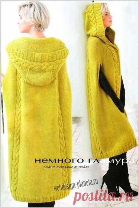 Вязаное пальто-пончо — DIYIdeas