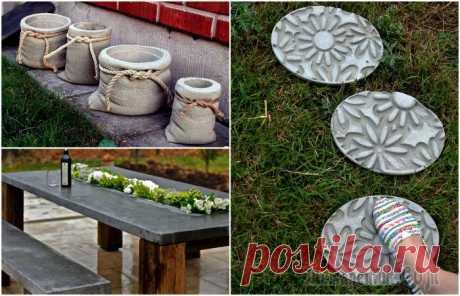 18 ideas del uso del hormigón frío a la creación de la decoración en el patio o en el jardín