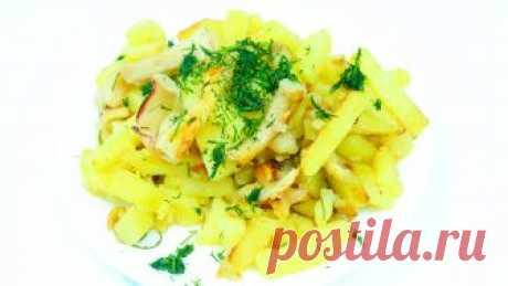 Картошка в мультиварке Обалденная жареная картошка в мультиварке с кальмаром и чесноком! Это очень вкусный и быстрый ужин! Рецепт ниже!
