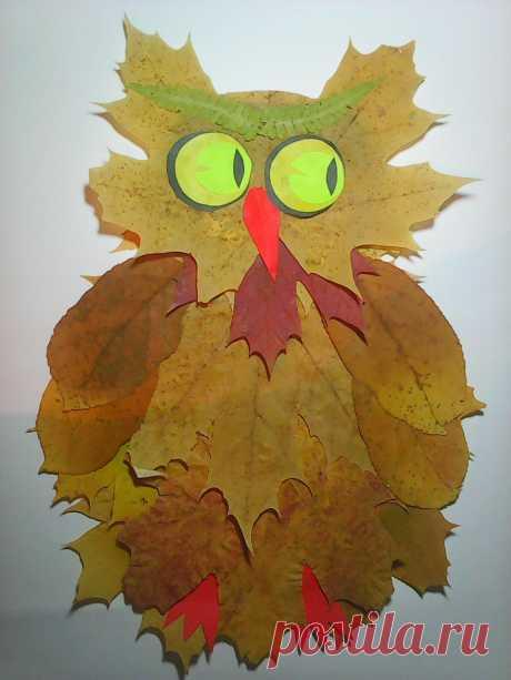 «Детская поделка из листьев - сова.» — карточка пользователя Оксана Г. в Яндекс.Коллекциях