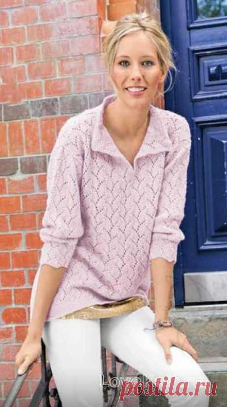 Ажурный пуловер с воротничком схема спицами » Люблю Вязать