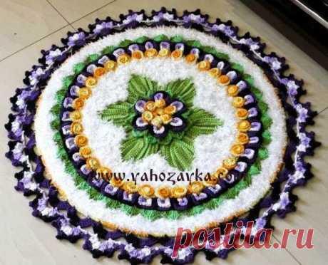Цветочный коврик крючком. Схема коврика для дома крючком Цветочный коврик крючком. Схема коврика для дома крючком