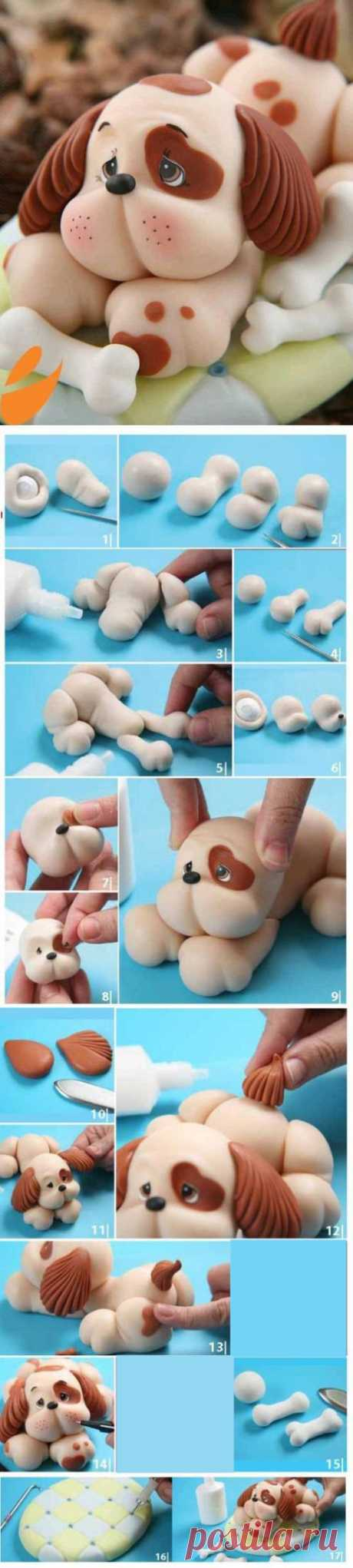 How to make a dog, a puppy of mastic?
