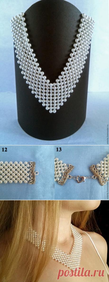 Плетем жемчужное ожерелье невесты