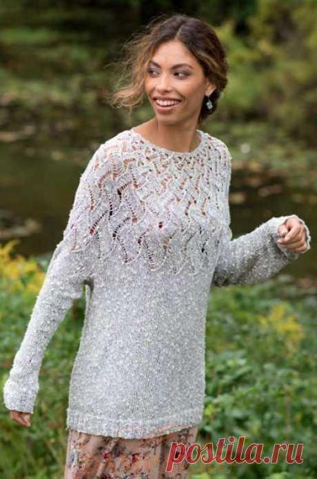 ЖЕНСКИЙ ПУЛОВЕР «LISETTE» Женский пуловерот дизайнера Amy Christoffers выполняется круговым вязанием и украшен ажурной кокеткой.     Размеры:  Окружность груди – 91.5 (99, 106.5, 114.5, 122, 129.5, 137) см,  Длина – 56 (56, 57, 58.5, 59.5, 61, 61) см.  Необходимые материалы:  Пряжа Berroco Quinoa (91% хлопок, 9% нейлон; 160 м / 50 грамм в мотке) – 7 (7, 8, 9, 10, 10, 11) мотков.  Необходимые инструменты:  Круговые спицы № 3.75 и № 4 длиной 80 см, наборы обоюдоострых сп...