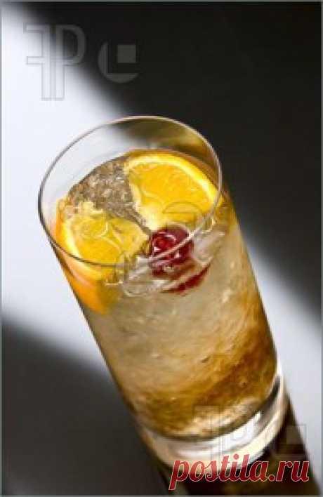 """Коктейль """"Принц Уэльский"""" Налить в бокал ликер и коньяк. Долить шампанским.  Вишенки, половинки лимона и апельсина положить  в бокал. Подавать коктейль с шпажкой для коктейля."""
