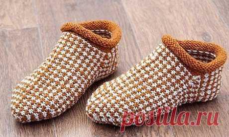 Носки- тапочки ленивым жаккардом из категории Интересные идеи – Вязаные идеи, идеи для вязания