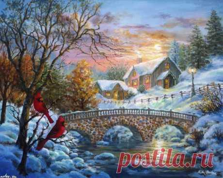 Скачать обои Праздники Nicky Boehme, Новый год, Рождество, зимний закат на рабочий стол 1280x1024