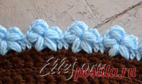 Кайма с цветами из пышных столбиков | Crochet by Ellej