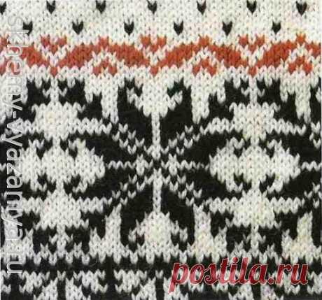 Бордюр с мушками и снежинками - схема вязания скандинавского узора спицами