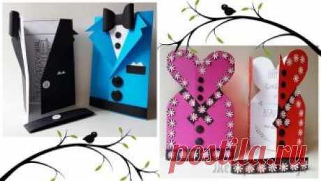 Делаем открытки: «открытка пиджак» и «Открытка Платье».