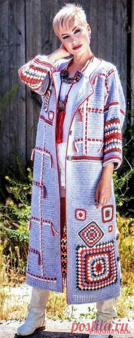 Пальто в стиле бохо. Крючок. Журнал мод 169