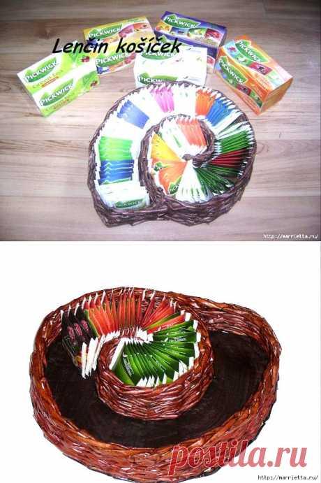 Плетение из газет.  УЛИТКА для чайных пакетиков   Сделай сам!