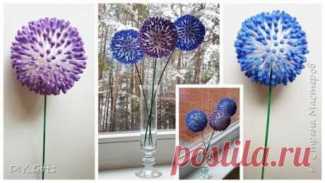 Очень легко и просто делаем оригинальные цветы из ватных палочек | Страна Мастеров