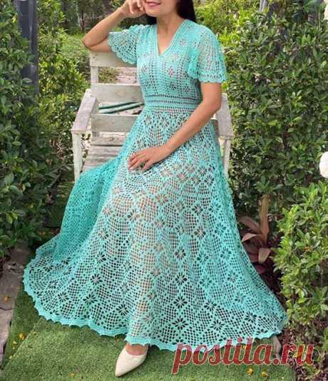 Бирюзовое платье на лето Вязаное крючком филейное бирюзовое платье на лето. Схема
