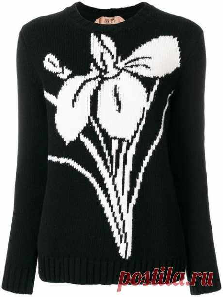Купить Nº21 свитер с цветочным узором интарсия