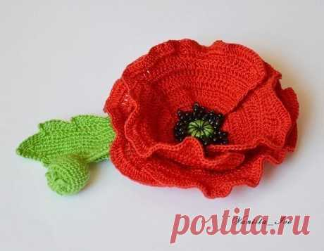 Knitted poppy hook. Scheme (Knitted flowers) | Inspiration of the Needlewoman Magazine