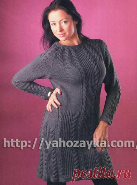 Серое платье с косами - схема вязания + фото и описание Схема вязания спицами серого платья с косами - вязание для домохозяек.