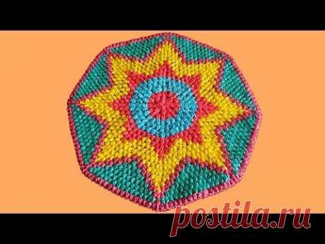 Коврик из пакетов. Коврик крючком из пакетов. Вязание коврика крючком. Часть 1. (crochet rug. P. 1)