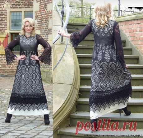 Черное платье спицами шетландскими мотивами. Angélique, le Chemin de Versailles (Путь в Версаль)