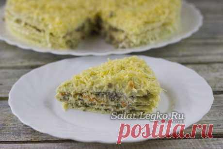 Селедочный торт на вафельных коржах, рецепт с фото пошагово