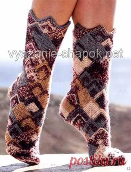 Красивые носки спицами в стиле «пэчворк» | ВЯЗАНИЕ ШАПОК: женские шапки спицами и крючком, мужские и детские шапки, вязаные сумки