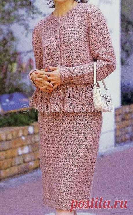 Розовый летний костюм | Вязание для женщин | Вязание спицами и крючком. Схемы вязания.