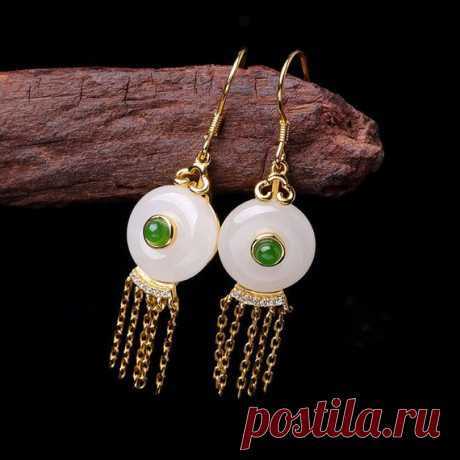 fashion Hetian jade / Safety buckle earrings / 925 silver plated beads earrings / tassel earrings / New Year gift / bridesmaid gift Product Details:  Material: 925 silver, Hetian jade  color: White  Shape: round  Size: Width: 11mm.  Weight: 5 grams  Translucent: translucent  Symbol: Good luck to you