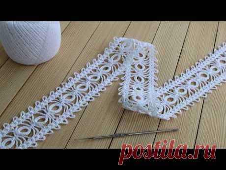 КРУЖЕВО КРЮЧКОМ простое вязание для начинающих МАСТЕР-КЛАСС How to Crochet Lace Tape Ribbon