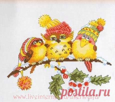 """Вышивка крестом, схемы Птички """"Новогоднее трио"""" Овен 699"""