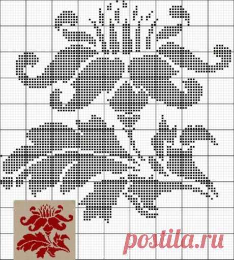 Схемы для филейного вязания: цветочки