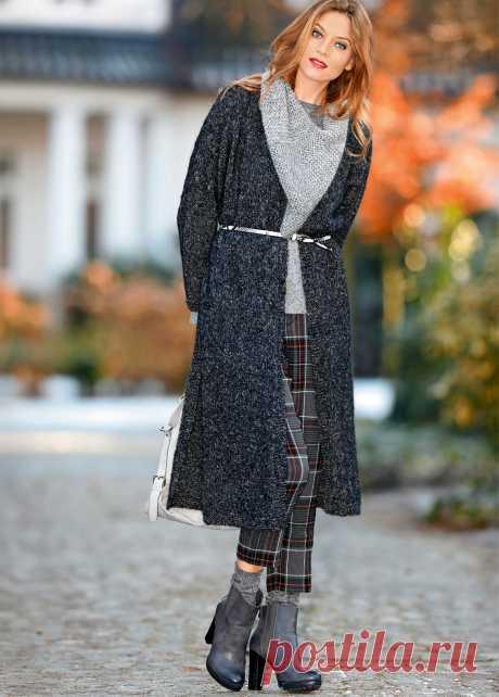 Пальто с боковыми разрезами и треугольный снуд - схема вязания спицами с описанием на Verena.ru