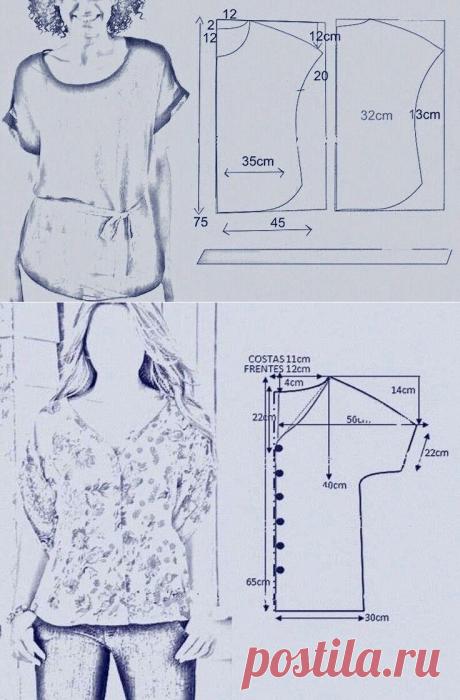 12 выкроек - блузки, туники и топы для дам с пышными формами! Размеры от 56 - 58. | Юлия Жданова | Яндекс Дзен