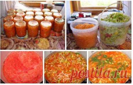 ЛЕЧО!  Началась пора заготовок.  ЛЕЧО - 3 кг помидор, 1 кг перца, 1 кг моркови, 1 кг лука, 1 стакан сахара, 3 ст. л. соли, 300 мг растительного масла, 1 ч. л. хмели-сунели, пучок петрушки, 1 ст. л.уксуса 9% .  Помидоры пропустить через мясорубку, поставить на плиту, кипятить 20 мин. Перец, лук порезать, морковь натереть на крупной терке.  Затем соль, сахар, масло, овощи, хмели - сунели, петрушку добавляем в томаты и тушим с момента закипания 30 мин., уксус в конце варки...