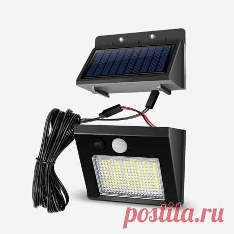 64/48/32led solar 3 modes led split waterproof solar lamp human body sensor yard with 7.5m cable Sale - Banggood.com