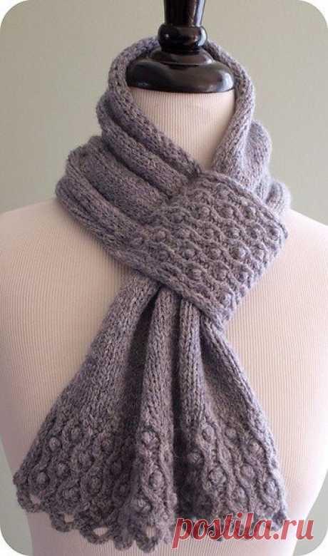 "Красивый шарф спицами с узором ""шишечки"" | Handmade24"
