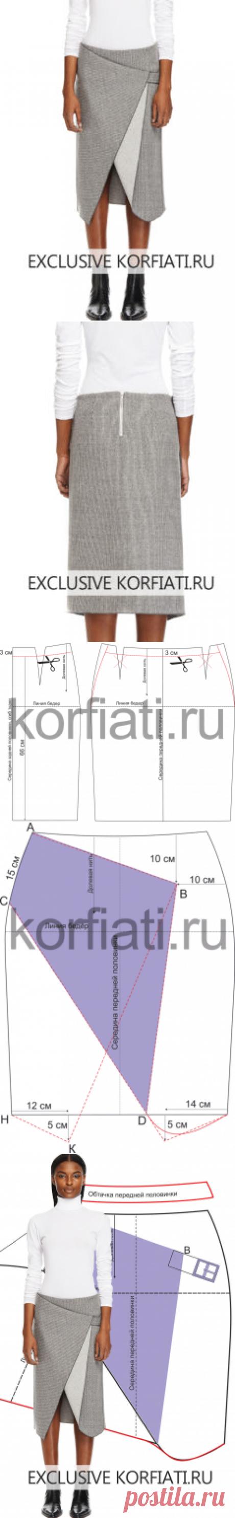 El patrón de la falda del corte no estandartizado de A.Korfiati
